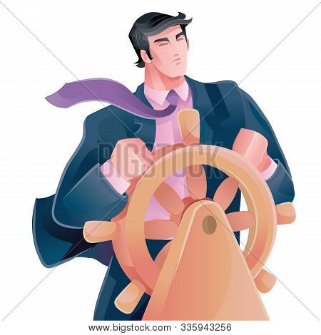 Man Stands At The Helm And Confidently Leads His Business Forward, Looks Fearlessly Forward Despite