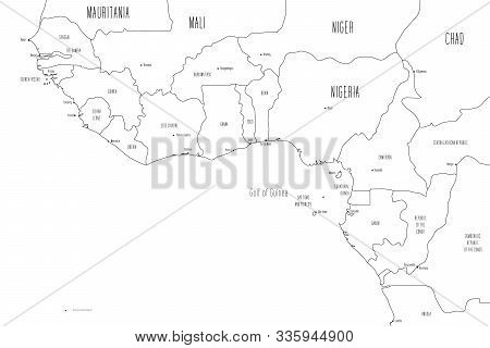 Map Of Gulf Of Guinea Countries. Handdrawn Doodle Style. Vector Illustration