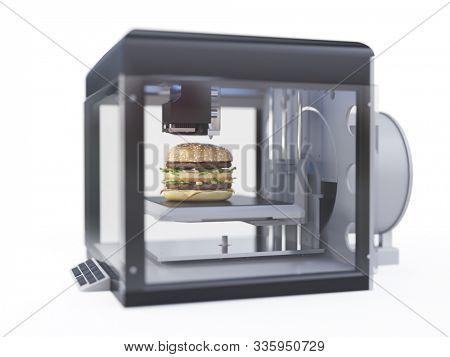 3d rendered illustration of a 3d printer printing a burger