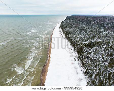 Aerial View Of The Baltic Sea Shore Line Near Klaipeda City, Lithuania. Beautiful Sea Coast On Chill