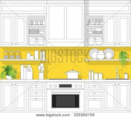 Interior Design With Modern Kitchen In Black Line Sketch On Colourful Background , Vector , Illustra