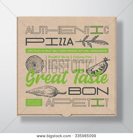Pizza Realistic Cardboard Box Container. Abstract Vector Packaging Design Or Label. Modern Typograph