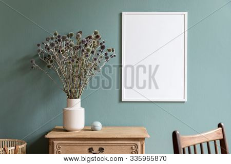 Minimalistic Composition Of Sitting Room Interior With White Mock Up Frame, Wooden Shelf, Retro Chai