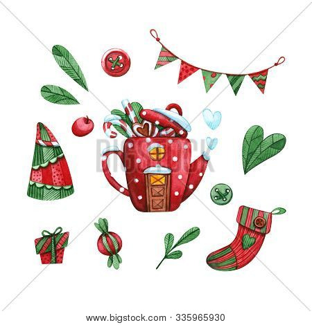 Hand Drawn Watercolor Illustration Clipart Set Of Red Teapot Pr Coffee Pot House, Candies, Garland F