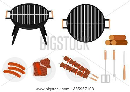 Barbecue Grill. Barbecue Grill Set. A Plate With Grilled Meat Skewers And Grilled Sausages. Vector B