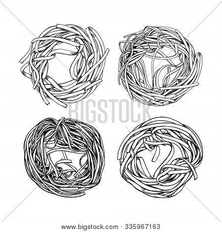 Hand Drawn Vector Illustration - Italian Pasta. Fettuccine & Spaghetti. Design Elements In Sketch St