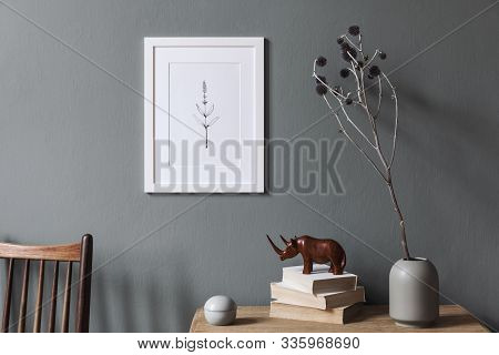 Design Interior Of Living Room At Modern Apartment With White Mock Up Photo Frame, Wooden Shelf, Sty