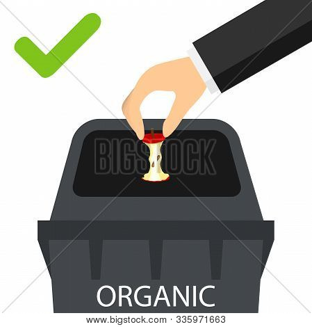 A Hand Throws Organic Waste Into A Trash Can. Mans Hand Throws Garbage Into The Trash Can Correctly.
