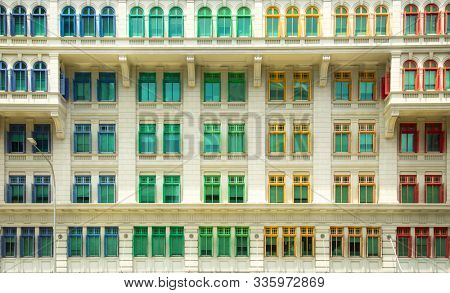 SINGAPORE - October 27, 2019: Historic Old Hill Street Police Station Building with rainbow windows in Singapore