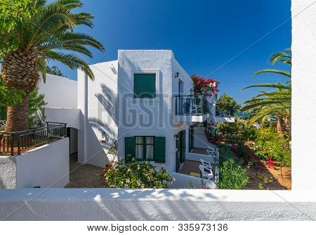 Authentic Narrow Colorful Mediterranean Street In Cretan Town, Island Of Crete, Greece. Europe
