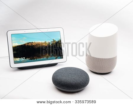 Nov 2019, Uk - Google Home, Hub, Nest Devices Together On Show In Group