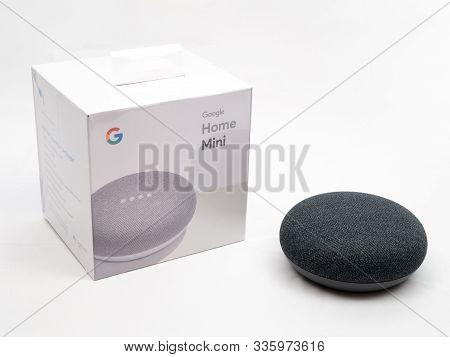 Nov 2019, Uk - Google Home Nest Mini With Unopened Brand New Box On White Background