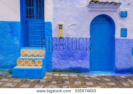 Chefchaouen, Morocco - December 13, 2018: Sightseeing Of Morocco. Beautiful Blue Medina Of Chefchaou