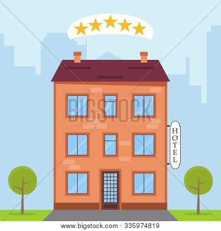 Hotel, Hotel Icon On The Background Of The Urban Landscape. Vector Illustration Of A Hotel.