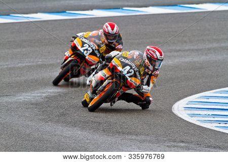 Jerez De La Frontera, Spain - Nov 20: 125cc Motorcyclist Alex Rins Takes A Curve In The Cev Champion