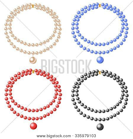 A Necklace Of Pearls, A Set Of Realistic Beads Made From Pearls. Vector Illustration Of A Pearl Neck