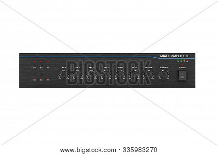 Hifi Stereo Mixer Amplifier On A White Background. 3d Rendering