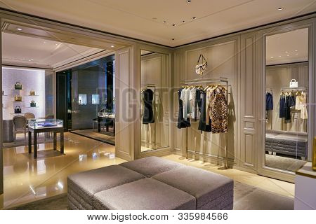 SINGAPORE - CIRCA APRIL, 2019: interior shot of Dior store in The Shoppes at Marina Bay Sands. Dior, is a French luxury goods company controlled and chaired by French businessman Bernard Arnault