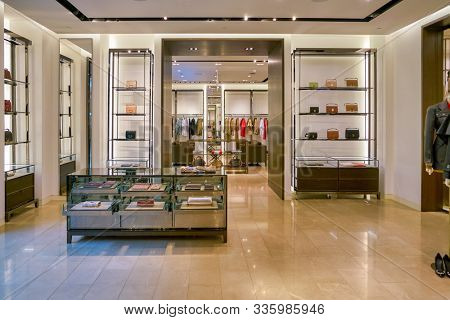 SINGAPORE - CIRCA APRIL, 2019: interior shot of Burberry store in The Shoppes at Marina Bay Sands.