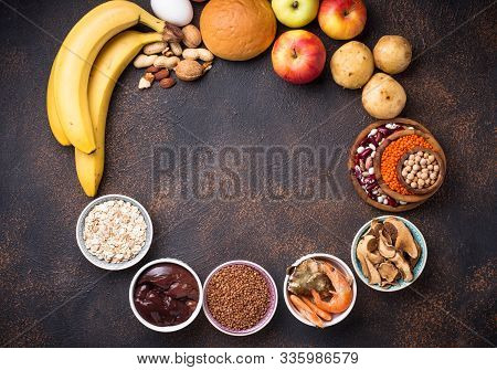 Healthy Product Sources Of Iron. Food Rich In Fe Ferrum . Top View, Space For Text