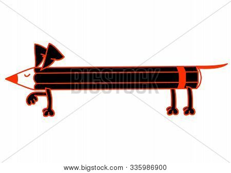 Pencil In The Form Of A Dog Doing A Stand. Vector Illustration Isolated On White Background, Logo, T