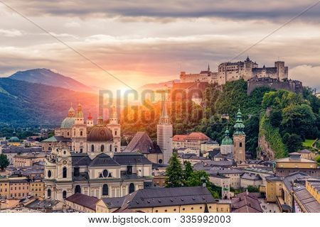 Salzburg Old City At Sunrise View, Salzburg Cityscape View, Austria