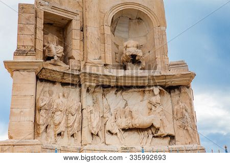 Ancient Ruins Of The Philopappu Monument An Ancient Greek Mausoleum And Monument Dedicated To Gaius