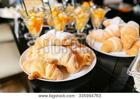 Breakfast Buffet. Fresh Pastry, Crispy Morning Croissants, Breakfast In Hotel. Dessert Fruit Cocktai