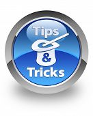 Tips & Tricks icon on glossy blue round button poster