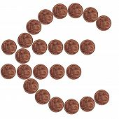 1 euro-cent coins, displayed as the euro symbol poster