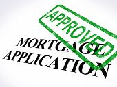 Mortgage Application Approved Stamp Showing Home Loan Agreed poster