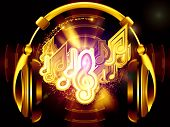 Interplay of headphones musical notes abstract design elements colors and lights on the subject of music sound audiophile performance song party and entertainment poster