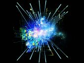 Abstract design made of CPU graphic and abstract design elements on the subject of digital equipment computing and modern technologies poster