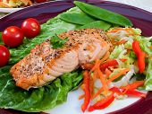 Grilled salmon on a dish with salad. poster