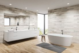 Light Tile Spacious Bathroom Corner, Tub And Sink