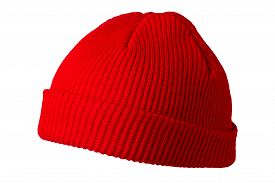 Docker Knitted Red Hat Isolated On White Background. Fashionable Rapper Hat. Hat Fisherman Side View