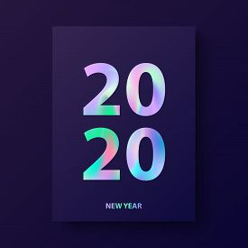 New Year Card, Modern Cover Design With Holographic Text 2020.