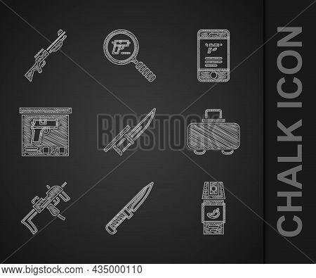Set Bayonet On Rifle, Military Knife, Pepper Spray, Weapon Case, Mp9i Submachine Gun, Ammunition Box