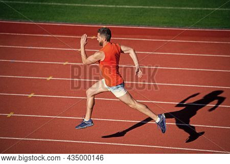 Guy Sprinter Running From Start To Finish With Success And Speed, Anaerobic Load