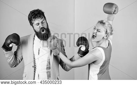 Man And Woman Boxing Fight. Couple In Love Competing In Boxing. Conflict Concept. Family Quarrel. Bo