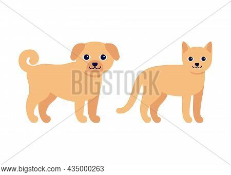 Happy Ginger Dog And Cat, Standing Puppy Pet. House Animal, Canine Feline Pet. Vector Illustration