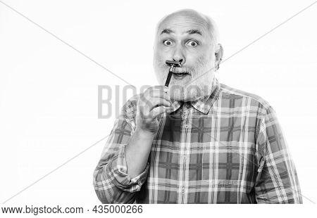 Man Shaving. Shaving Razor Blade Tool Kit. Cut And Brush Hair. Barbershop Concept. Shaving Accessori