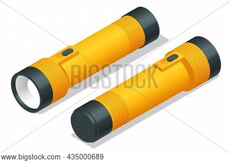 Isometric Yellow Plastic Torch Flashlight Isolated On White Background. Light Source For Individual