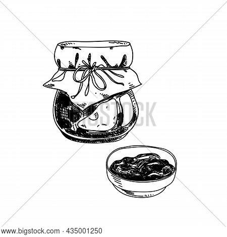 Jam Hand Drawn Black And White Vector Illustration. Retro Glass Jar And Saucer Sketch. Conserve, Des