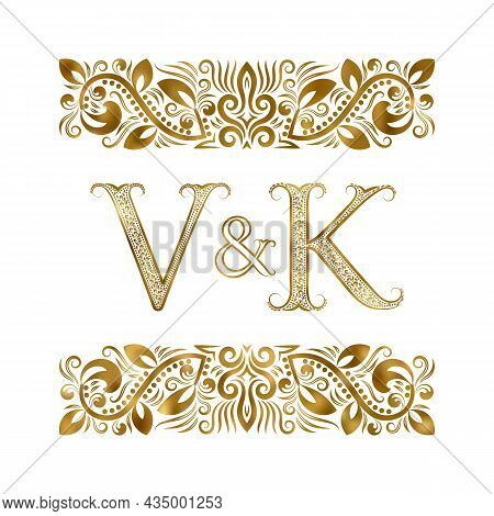 V And K Vintage Initials Logo Symbol. The Letters Are Surrounded By Ornamental Elements. Wedding Or