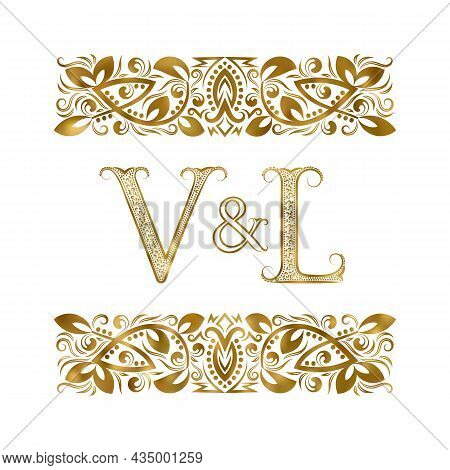 V And L Vintage Initials Logo Symbol. The Letters Are Surrounded By Ornamental Elements. Wedding Or