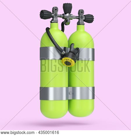 Green Diving Tanks Or Balloons Full Oxygen For Snorkeling Isolated On A Pink