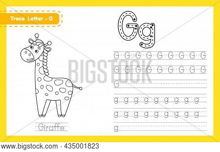 Trace Letter G Uppercase And Lowercase. Alphabet Tracing Practice Preschool Worksheet For Kids Learn