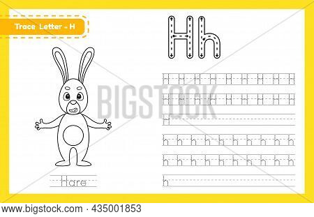 Trace Letter H Uppercase And Lowercase. Alphabet Tracing Practice Preschool Worksheet For Kids Learn