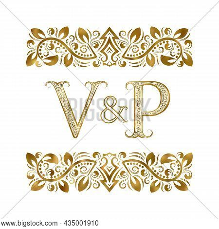 V And P Vintage Initials Logo Symbol. The Letters Are Surrounded By Ornamental Elements. Wedding Or